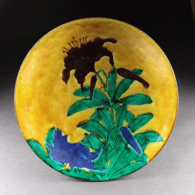 吉田屋窯 百合図平鉢