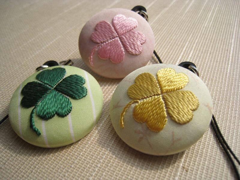 日本刺繍体験のクローバ