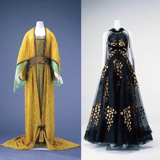 左:ポール・ポワレ《イブニング・ドレス》1913 年 島根県立石見美術館蔵 右:マドレーヌ・ヴィオネ《イブニング・ドレス、ストール》1938 年 島根県立石見美術館蔵