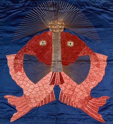 《袱紗 紺繻子地鯛模様》江戸時代(18〜19世紀)